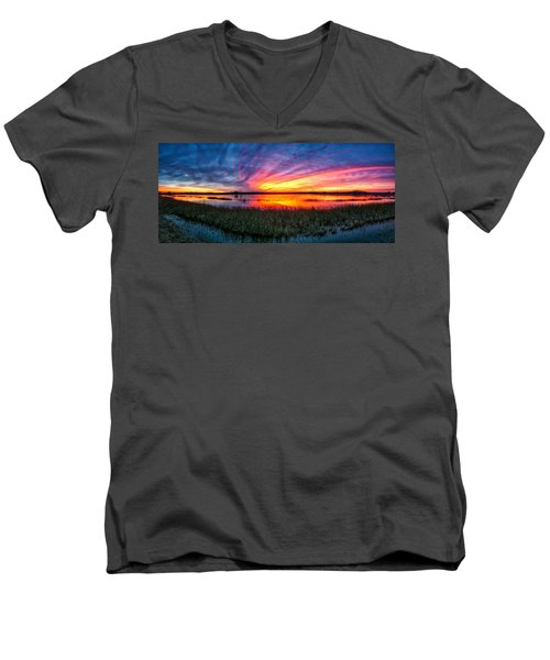 Bosque Sunrise Men's V-Neck T-Shirt by Kristal Kraft