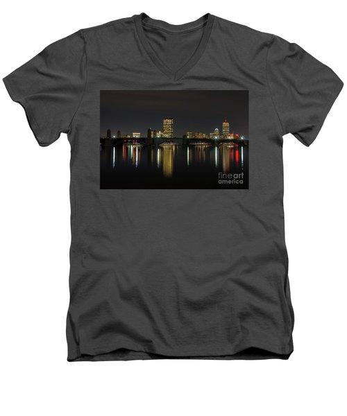 Boston Skyscrappers Behind Bridge Men's V-Neck T-Shirt