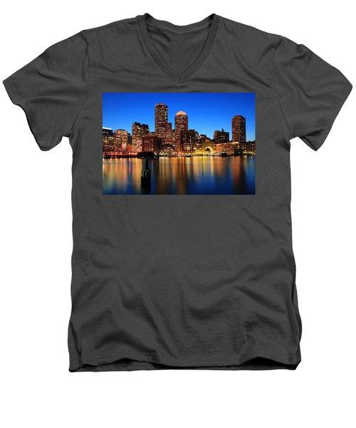 Boston Aglow Men's V-Neck T-Shirt by Rick Berk