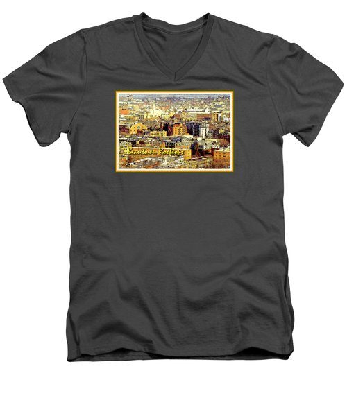Men's V-Neck T-Shirt featuring the digital art Boston Beantown Rooftops Digital Art by A Gurmankin