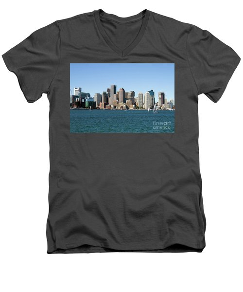 Boston City Skyline Men's V-Neck T-Shirt