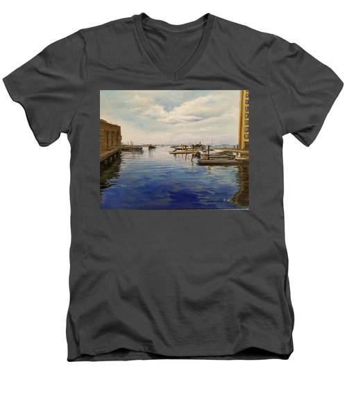 Men's V-Neck T-Shirt featuring the painting Boston Harbor by Rose Wang