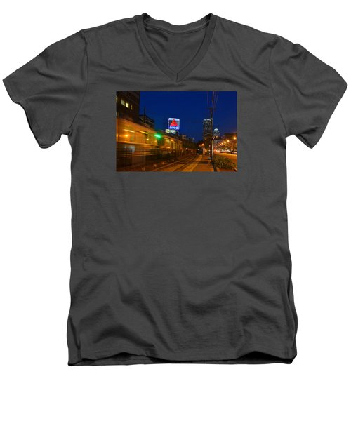 Boston Ma Green Line Train On The Move Men's V-Neck T-Shirt