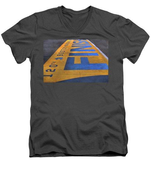Boston Marathon Finish Line Men's V-Neck T-Shirt by Joann Vitali