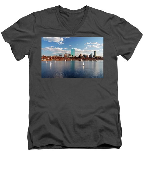Boston On The Charles  Men's V-Neck T-Shirt