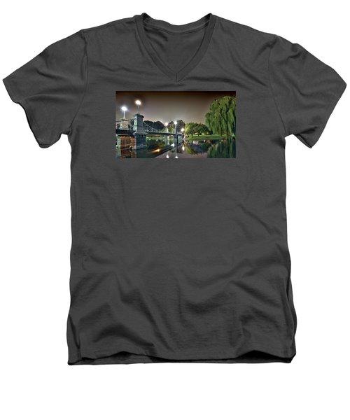 Boston Public Garden - Lagoon Bridge Men's V-Neck T-Shirt by Brendan Reals