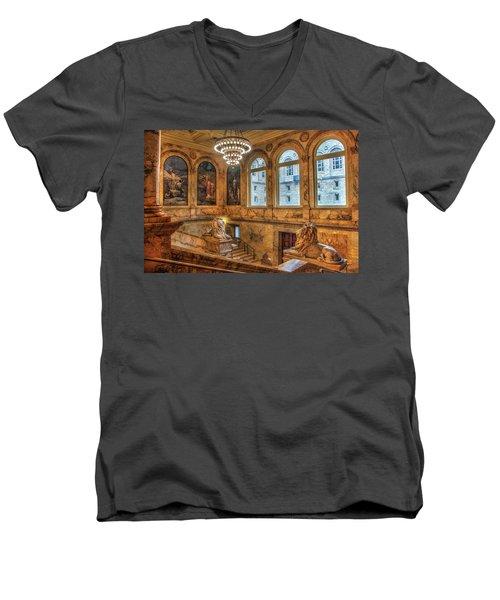 Men's V-Neck T-Shirt featuring the photograph Boston Public Library Architecture by Joann Vitali