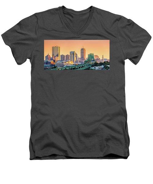 Boston Skyline Men's V-Neck T-Shirt