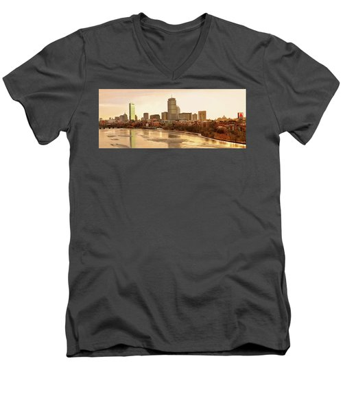 Boston Skyline On A December Morning Men's V-Neck T-Shirt