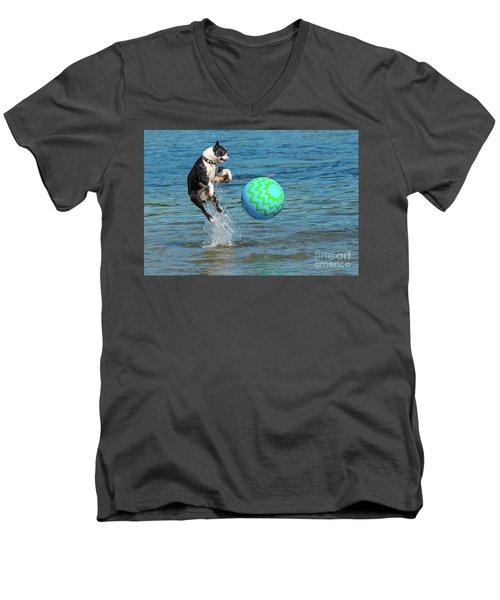 Boston Terrier High Jump Men's V-Neck T-Shirt