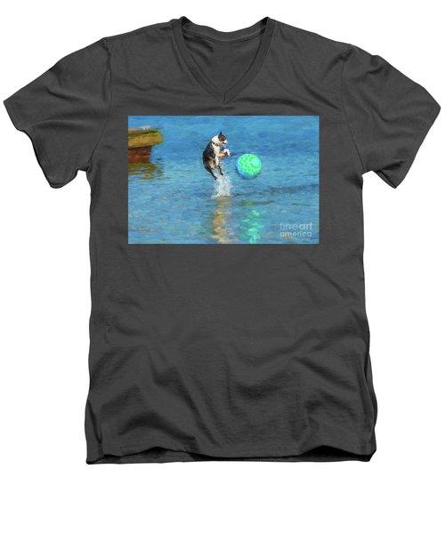 Boston Terrier Jump - Painterly Men's V-Neck T-Shirt