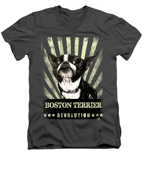 Boston Terrier Revolution Men's V-Neck T-Shirt