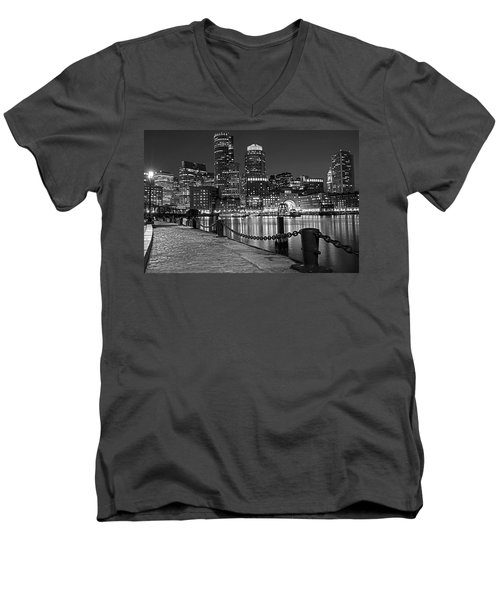 Boston Waterfront Boston Skyline Black And White Men's V-Neck T-Shirt