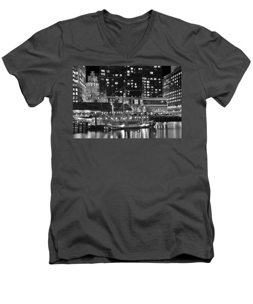 Men's V-Neck T-Shirt featuring the photograph Bostonian Black And White by Frozen in Time Fine Art Photography