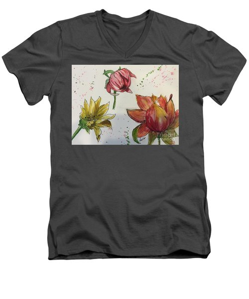 Botanicals Men's V-Neck T-Shirt by Lucia Grilletto