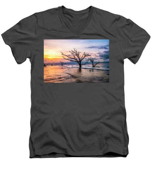 Men's V-Neck T-Shirt featuring the photograph Botany Bay Dawn by Phyllis Peterson