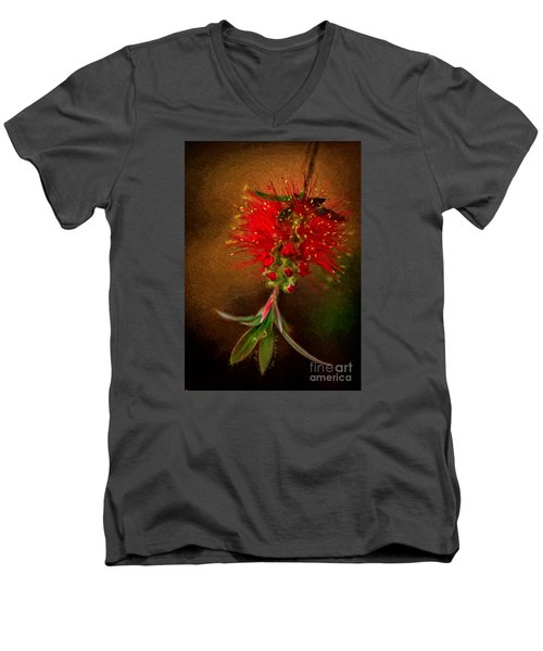 Bottle Brush Flower Men's V-Neck T-Shirt