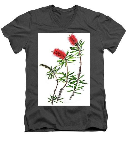 Men's V-Neck T-Shirt featuring the painting Bottle Brush by Heidi Kriel
