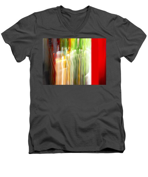 Men's V-Neck T-Shirt featuring the photograph Bottle By The Window by Susan Capuano