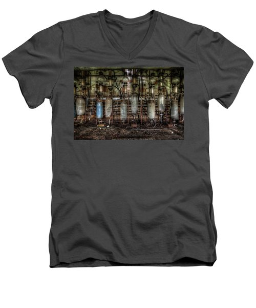 Men's V-Neck T-Shirt featuring the digital art Bottles Hanging On The Wall  by Nathan Wright