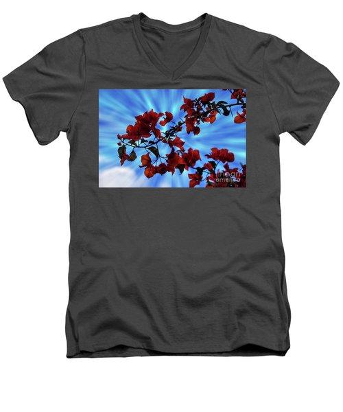 Bougainvillea At Joe's Secret Garden Iv Men's V-Neck T-Shirt by Al Bourassa