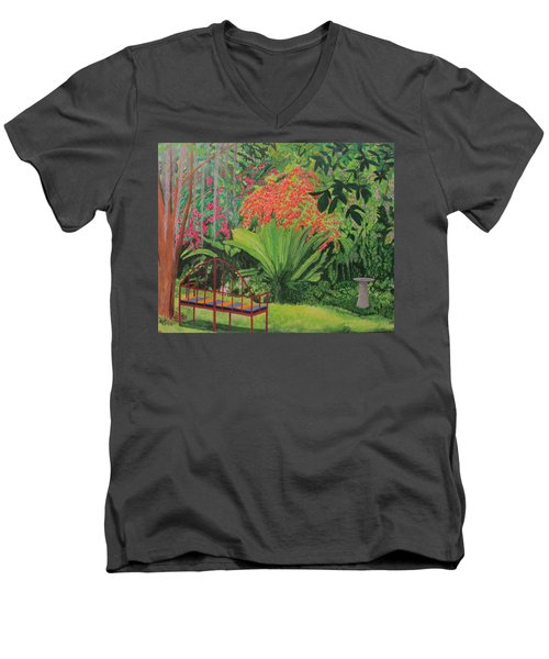 Bougainvillea Garden Men's V-Neck T-Shirt by Hilda and Jose Garrancho