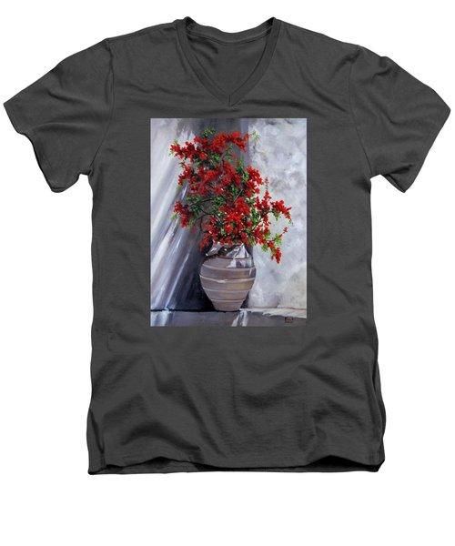 Bougainvillia Men's V-Neck T-Shirt by Katia Aho