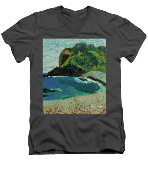 Men's V-Neck T-Shirt featuring the painting Boulder Beach by Paul McKey