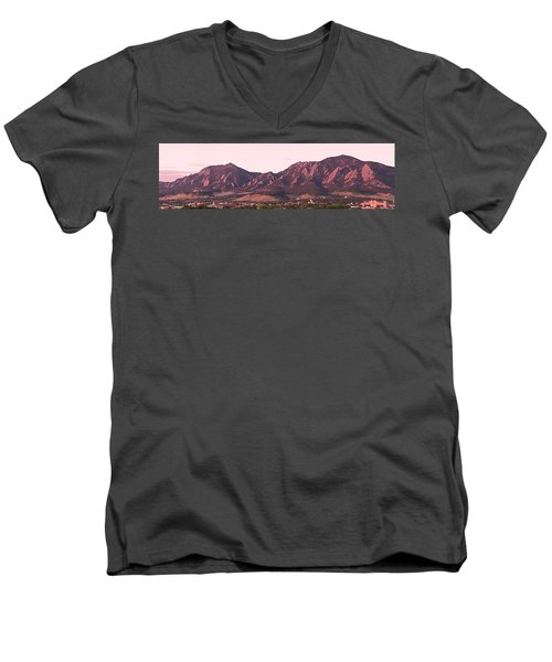 Boulder Colorado Flatirons 1st Light Panorama Men's V-Neck T-Shirt