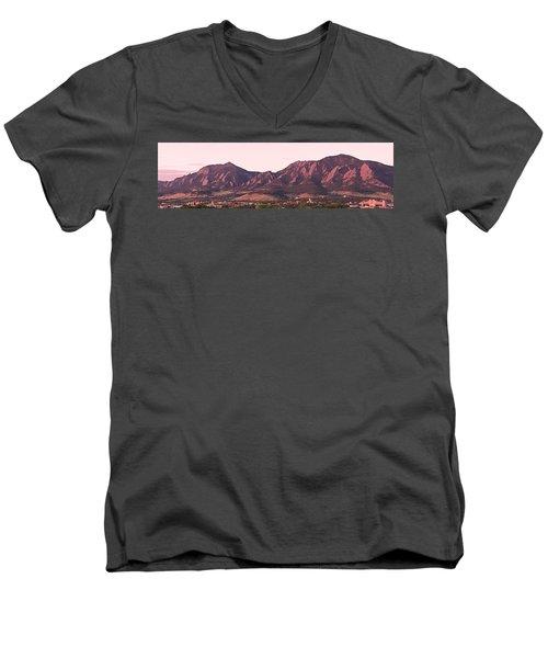 Boulder Colorado Flatirons 1st Light Panorama Men's V-Neck T-Shirt