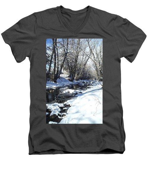 Boulder Creek After A Snowstorm Men's V-Neck T-Shirt