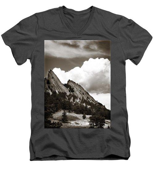 Large Cloud Over Flatirons Men's V-Neck T-Shirt by Marilyn Hunt