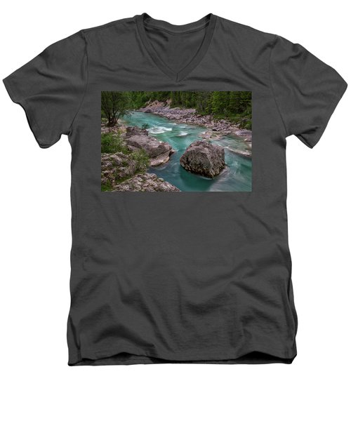 Men's V-Neck T-Shirt featuring the photograph Boulder In The River - Slovenia by Stuart Litoff