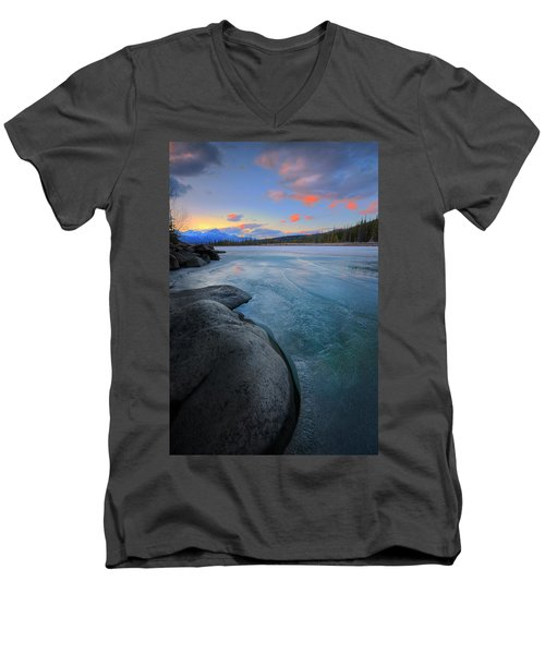 Men's V-Neck T-Shirt featuring the photograph Boulders And Ice On The Athabasca River by Dan Jurak