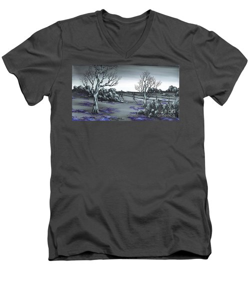 Boundry Fence. Men's V-Neck T-Shirt by Kenneth Clarke