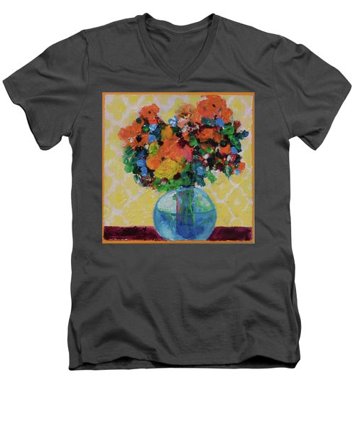 Men's V-Neck T-Shirt featuring the painting Bouquet-a-day #7 Original Acrylic Painting Free Shipping 59.00 By Elaine Elliott by Elaine Elliott