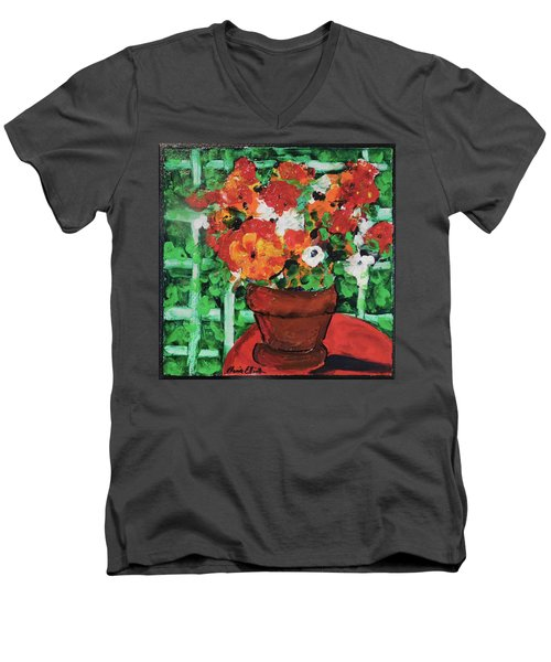 Men's V-Neck T-Shirt featuring the painting Bouquet A Day Floral Painting Original 59.00 By Elaine Elliott by Elaine Elliott