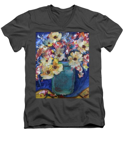 Bouquet Flowers Of Blue  Men's V-Neck T-Shirt