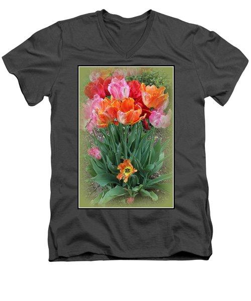 Bouquet Of Colorful Tulips Men's V-Neck T-Shirt by Dora Sofia Caputo Photographic Art and Design