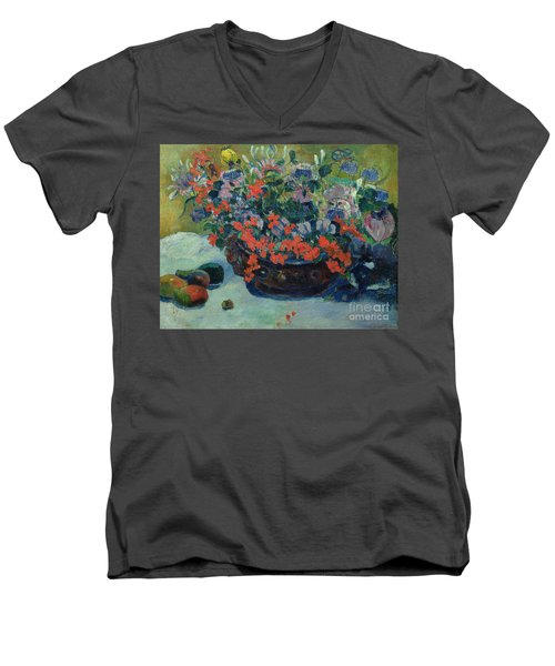 Bouquet Of Flowers Men's V-Neck T-Shirt by Paul Gauguin