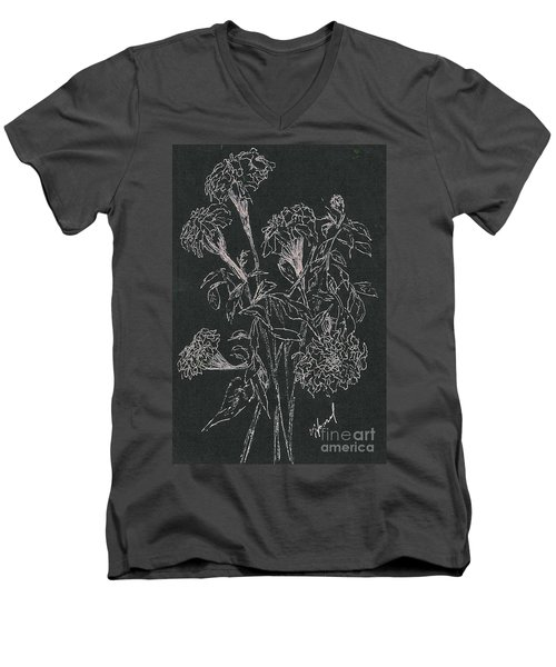Men's V-Neck T-Shirt featuring the painting Bouquet Of Flowers  by Vicki  Housel