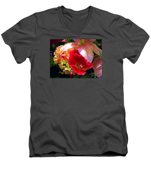 Men's V-Neck T-Shirt featuring the photograph Bouquet Of Lilies Poppy And Hydrangea by Merton Allen