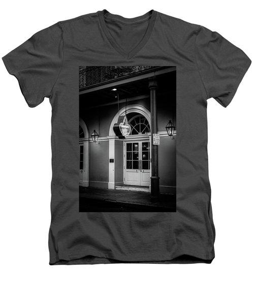 Bourbon O Bar In Black And White Men's V-Neck T-Shirt