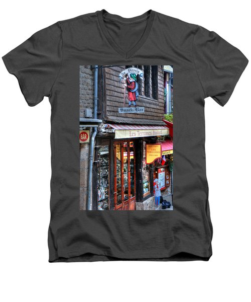 Men's V-Neck T-Shirt featuring the photograph Boutique Les Terasses Poulard by Tom Prendergast