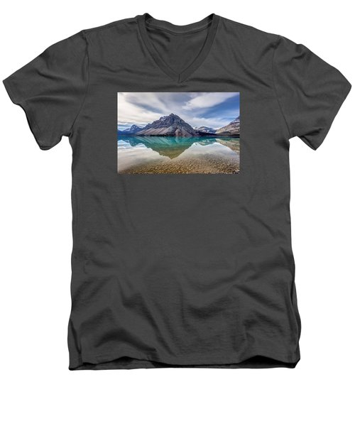 Bow Lake Reflection From Num-ti-jah Lodge  Men's V-Neck T-Shirt