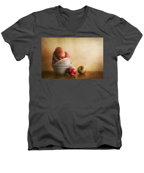 Men's V-Neck T-Shirt featuring the photograph Bowls And Apples Still Life by Tom Mc Nemar
