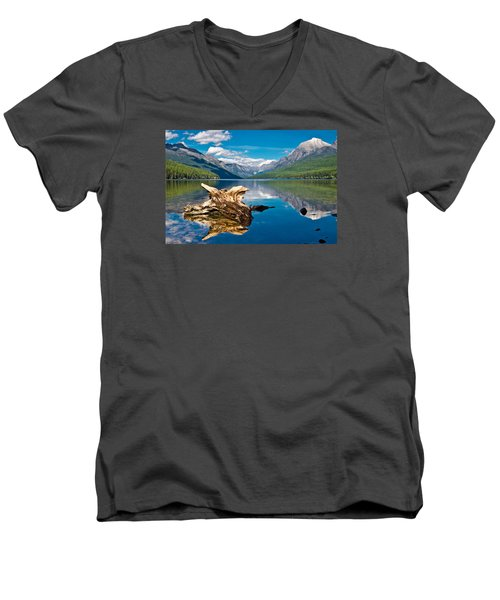 Bowman Lake 1, Glacier Nat'l Park Men's V-Neck T-Shirt