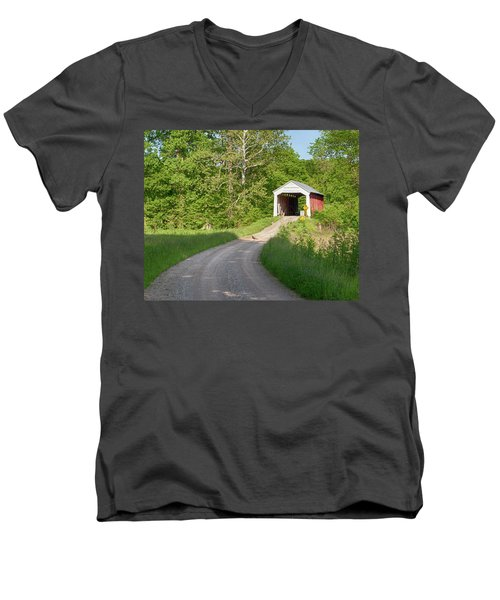 Men's V-Neck T-Shirt featuring the photograph Bowser Ford Covered Bridge Lane by Harold Rau