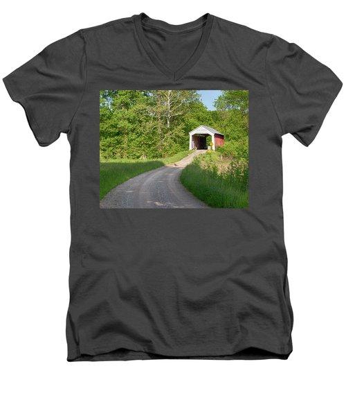 Bowser Ford Covered Bridge Lane Men's V-Neck T-Shirt