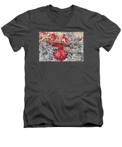 Box Of Red Glass Christmas Ornaments Men's V-Neck T-Shirt